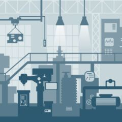 Creative vector illustration of factory line manufacturing industrial plant scen interior background.